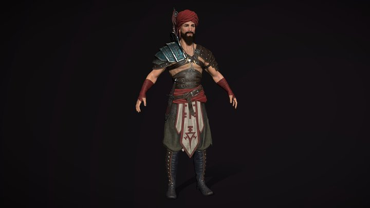 Barbarian Real-Time Game Character 3D Model