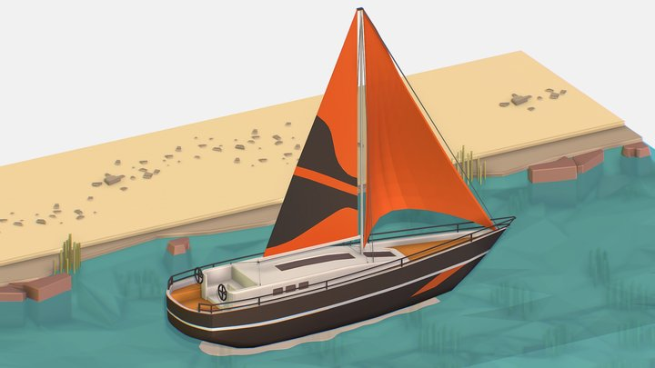 Isometric Black Yacht Scene Motor Boat Black 3D Model