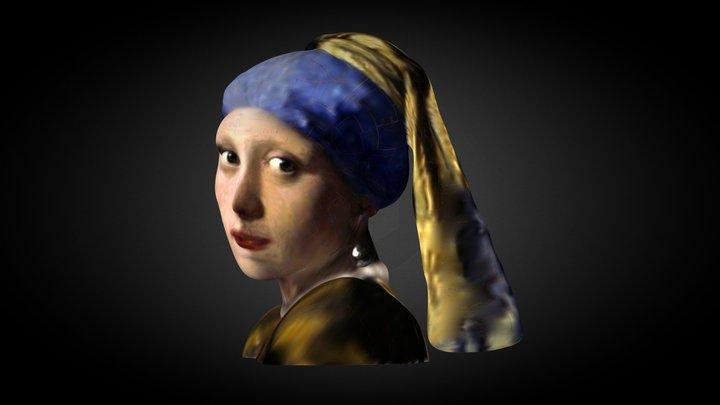Jan Vermeer RAGAZZA CON ORECCHINO DI PERLA 3D Model