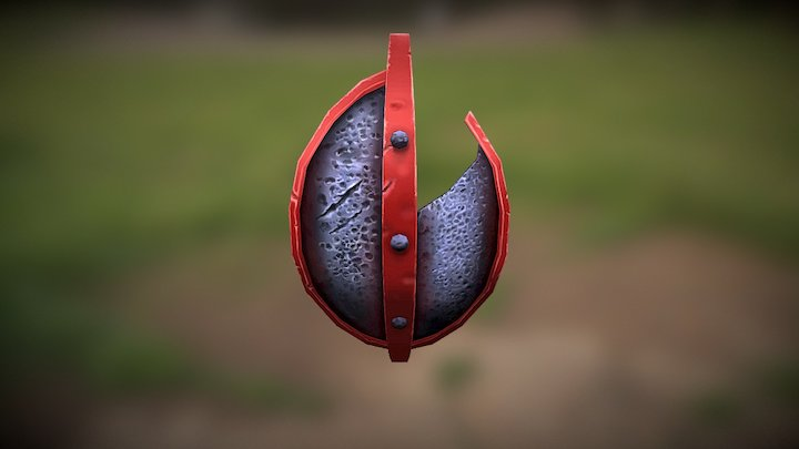 Broken Red Rimmed Shield 3D Model