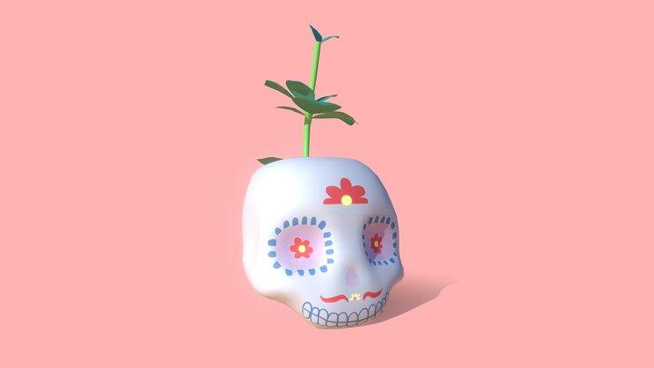 Peperomia Skull Planter 3D Model