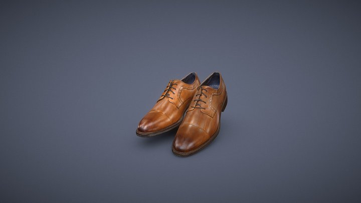 Mens Shoes Brown Leather 3D Model