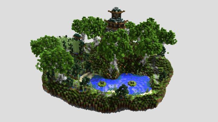 Minecraft floating oriental mountain 3D Model