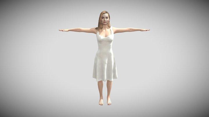 Margot Robbie T-Pose 3D Model