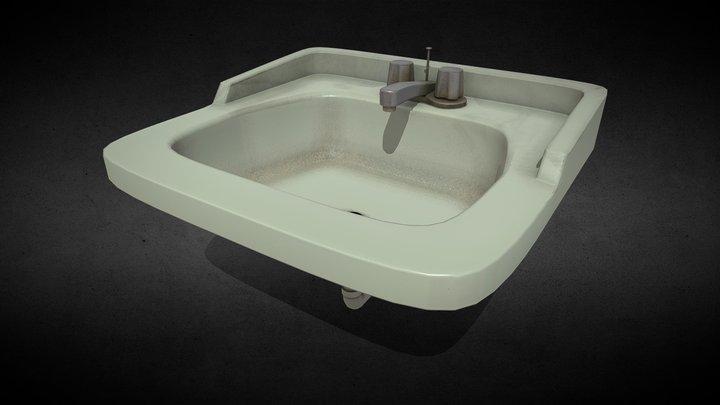 Old Dirty Bathroom Sink 3D Model