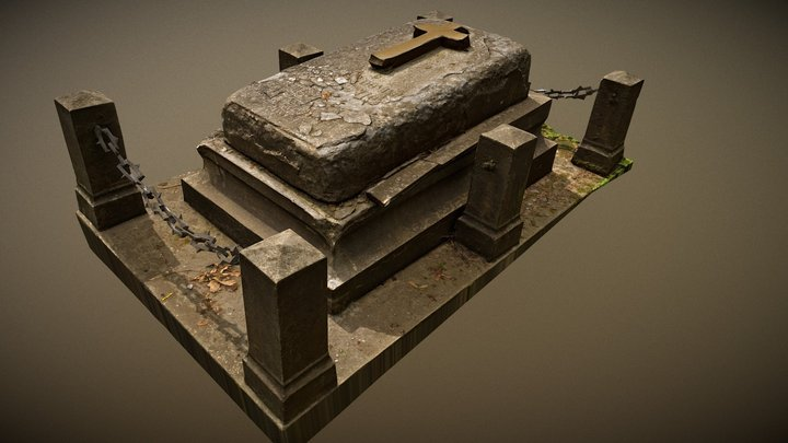 Photorealistic scanned Grave With Chain LOD 3D Model