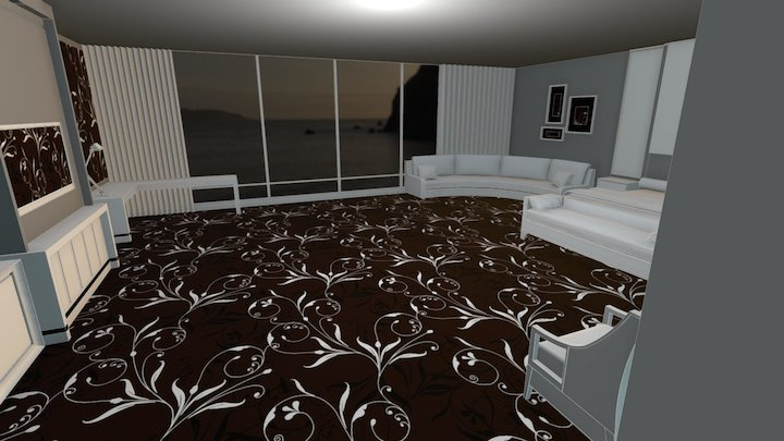 Custom Brown Axminster Carpet Hotel Room 3D Model