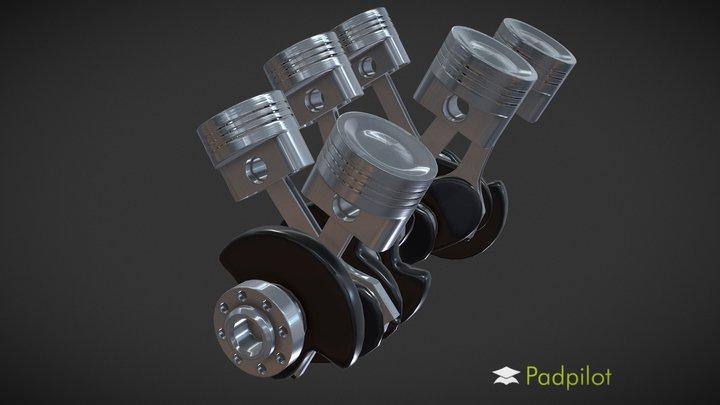 V6 Engine Animation 3D Model