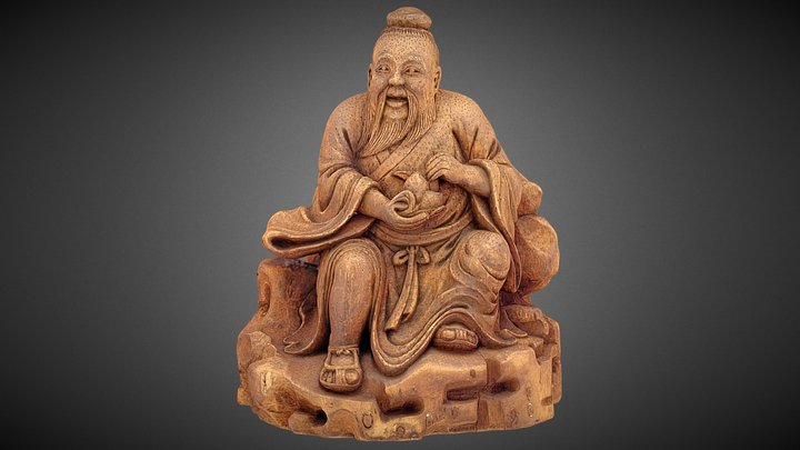 Chinese wooden figure. 3D Model