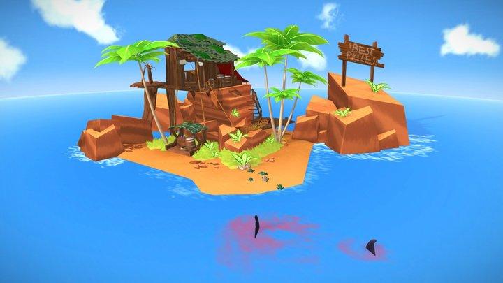 Pirate turtle Island 3D Model