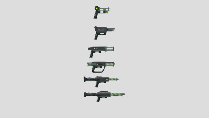 Plasma Weapons Pack 3D Model