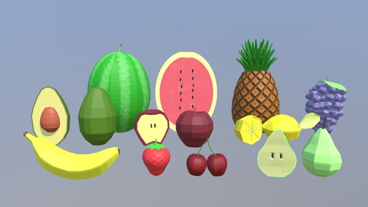 Low Poly Cartoon Fruit Collection 3D Model