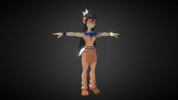Low-Poly  Girl Character 3D Model