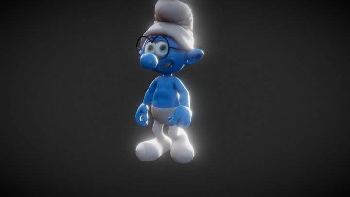 Walking Brainy Smurf 3D Model