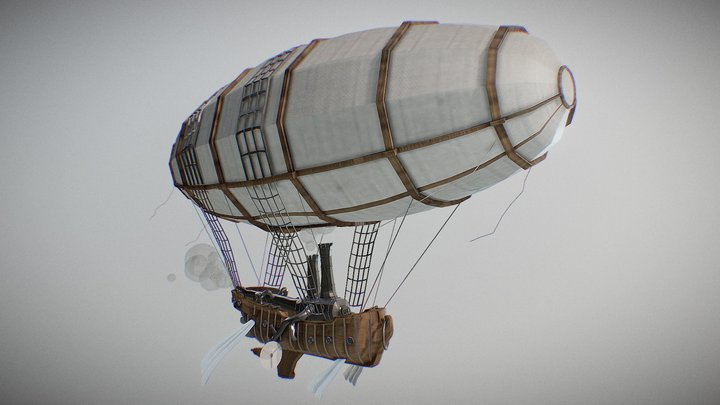 Steampunk Flying Ship 3D Model