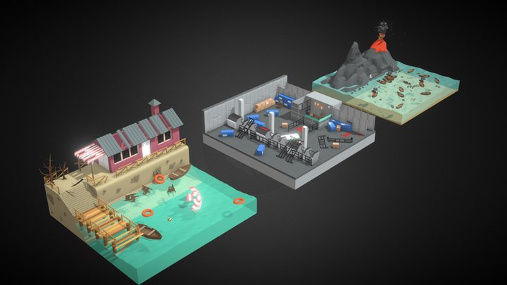 Polygon Zombie Environment Pack Combo 3D Model