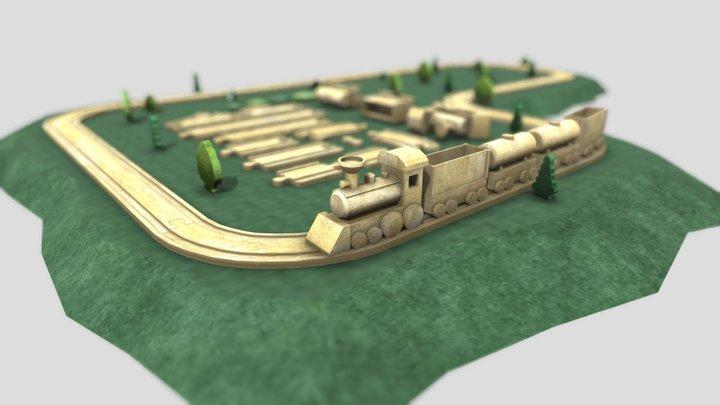 Wooden railway 3D Model