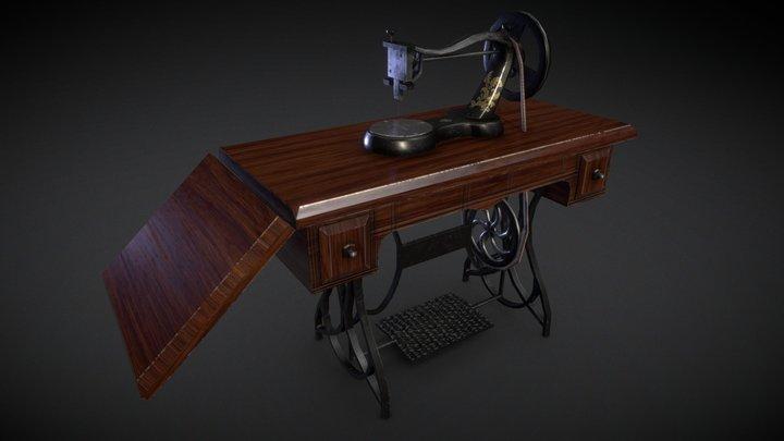 Vintage victorian era sewing machine 3D Model