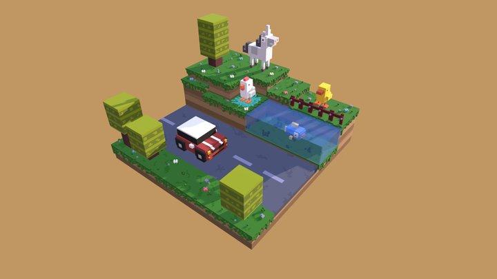 Voxel Art Scene of Crossy Road Game 3D Model