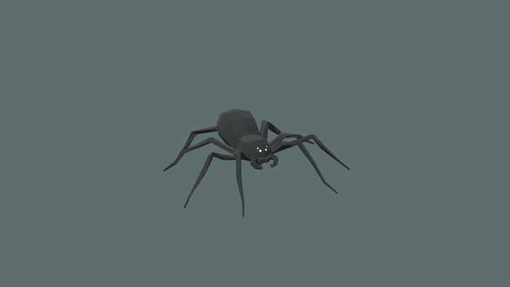 Low poly spider (rigged) 3D Model