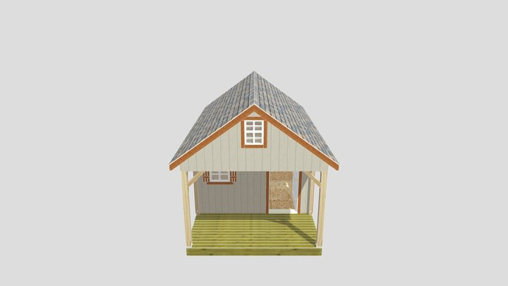 12x22 Gable with Front Porch 3D Model