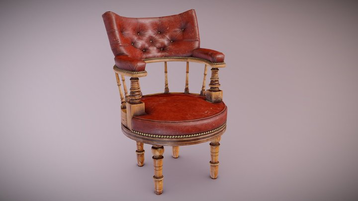 ATT - Antique Leather Chair - PBR Game Ready 3D Model