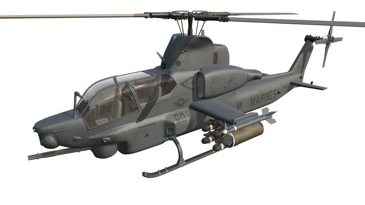 Bell AH-1Z Viper Attack Helicopter 3D Model