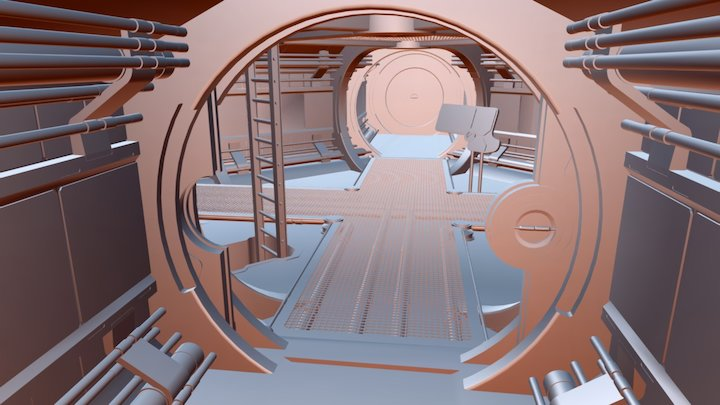 Futuristic Spaceship Interior 3D Model
