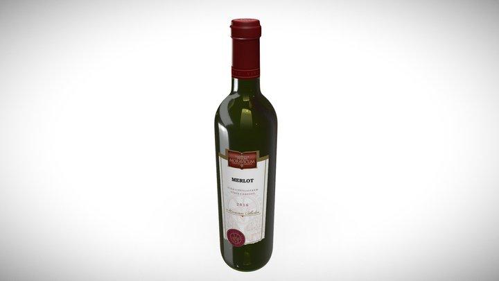 Bottle of Wine Merlot 2016 3D Model
