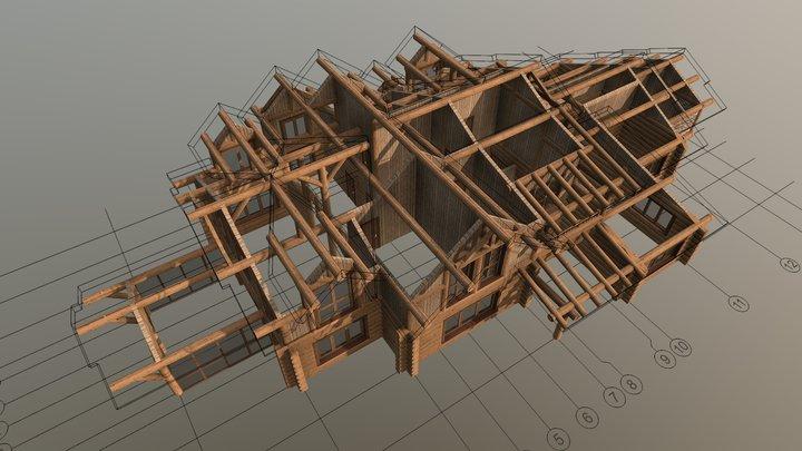 Проект жилого дома 8,1 (БРУС) 3D Model
