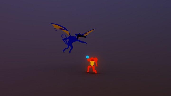 Samus vs Ridley - Super Metroid Low Poly 3D Model