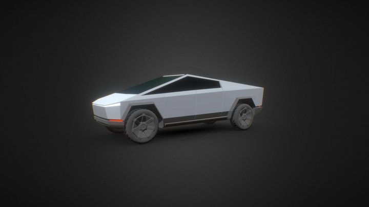 Low-poly tesla cybertruck 3D Model