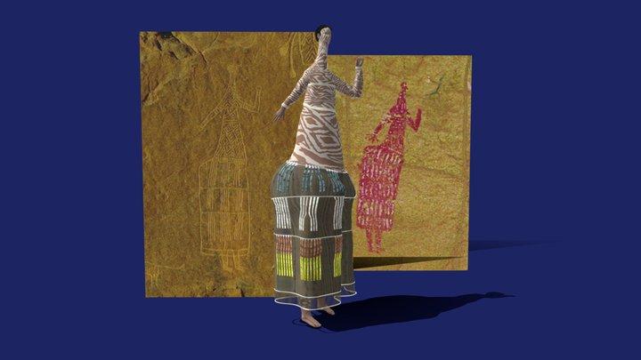 The Niola Doa Women in a Skirt (Ennedi, Chad) 3D Model