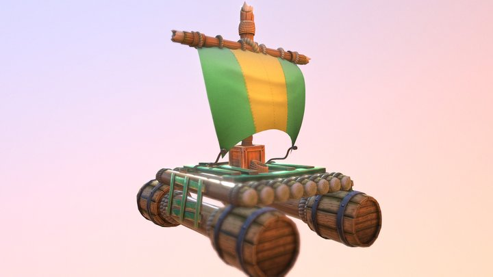 Raft Hand-Painted 3D Model