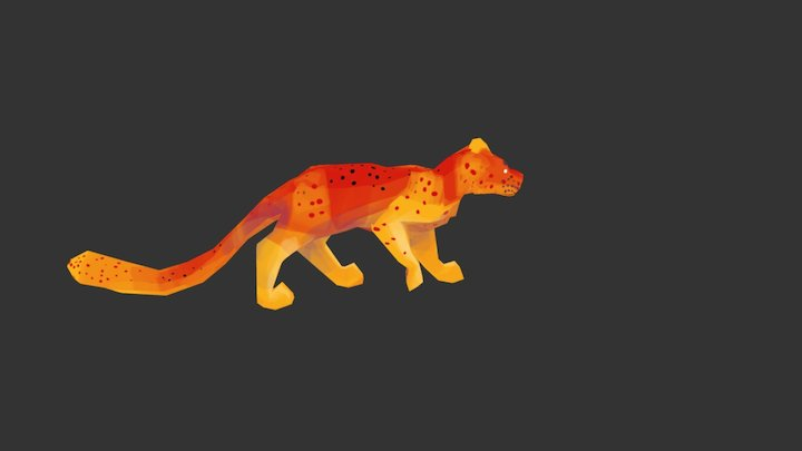Panther - red - animated 3D Model