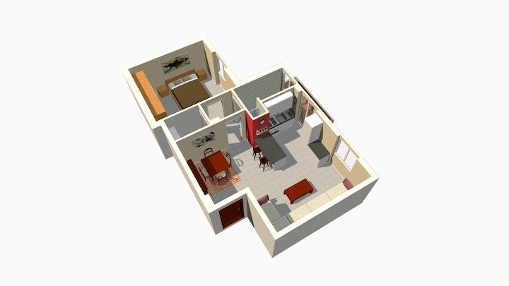 Via Codogno Milano Bilocale ristrutturato 3D Model