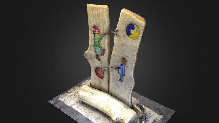 Ernstthal + Lauscha: Holzfigur mit Glasfusing 3D Model
