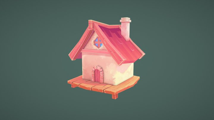 Summer Cottage House Lowpoly 3D Model