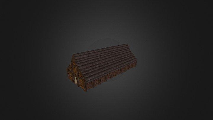 Large Viking Longhouse 3D Model