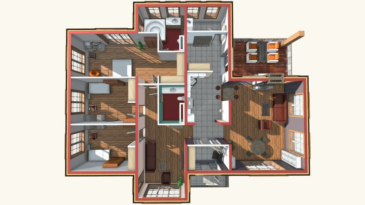 1 floor house plan 2016 / План загородного дома. 3D Model