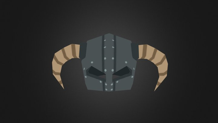 Low poly clean style Dragonborn Helm 3D Model