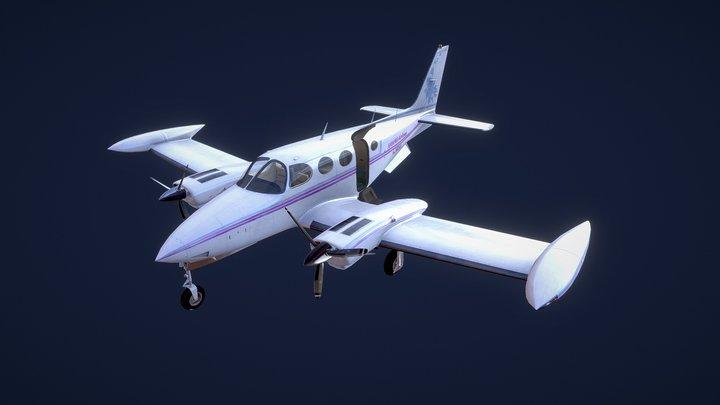 Cessna 340 Landed 3D Model