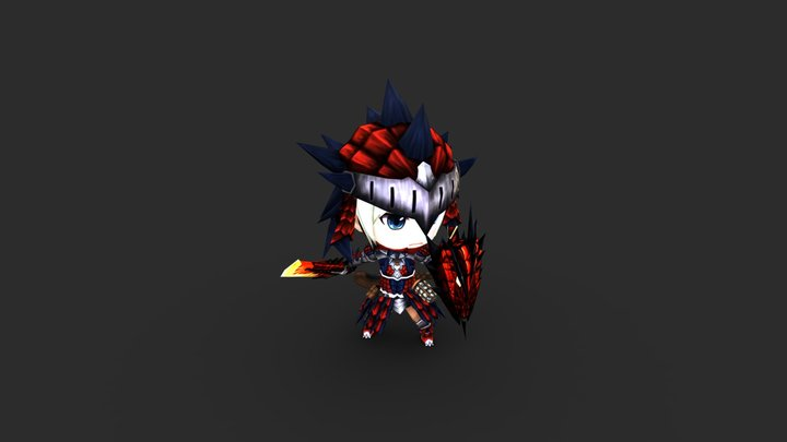 Female Rathalos Armor MHW Nendoroid Pose 1 3D Model