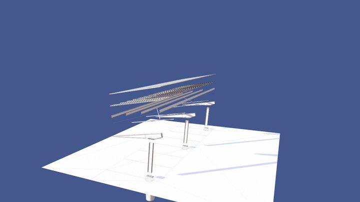 Solar Car Port Exploded Model 3D Model