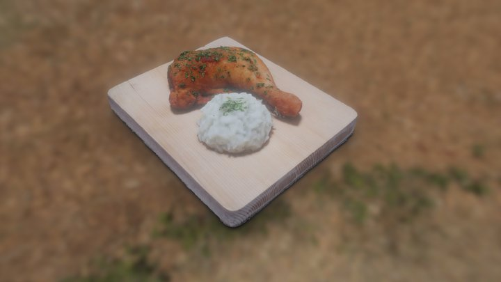 Smoked Chicken With Cooked Rice 3D Model