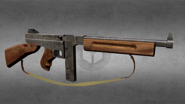 American submachine gun 3D Model