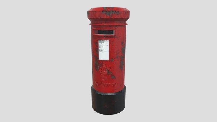 Red Post Box 3D Model