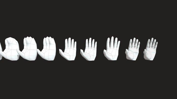 free low poly Hands models 3D Model