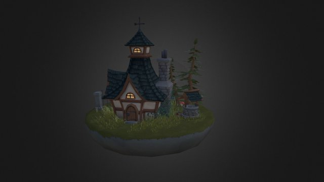 Low Poly House Scene 3D Model
