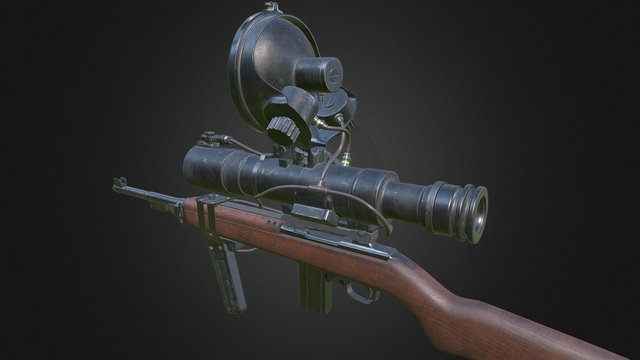 """M1 Carbine with Infrared """"Snooper"""" Scope 3D Model"""